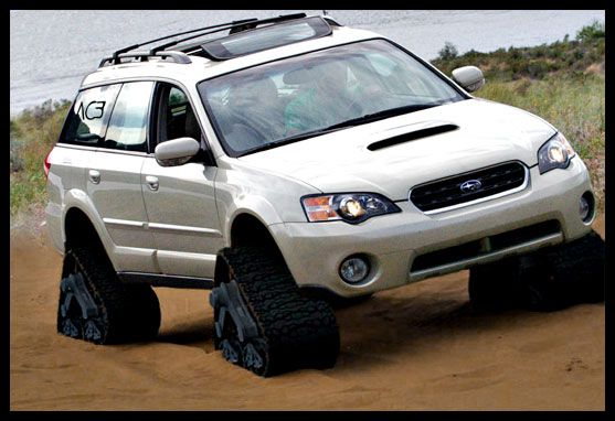 Subaru Legacy Outback Wagon on tracks