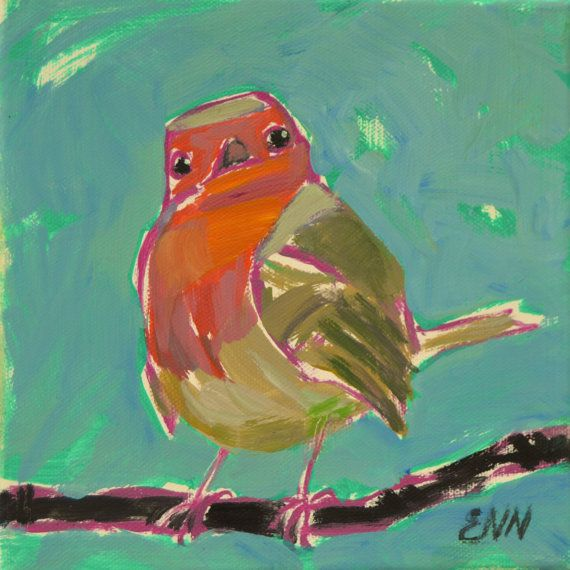 Original oil bird painting /Robin / colletibles by NielsenDenmark