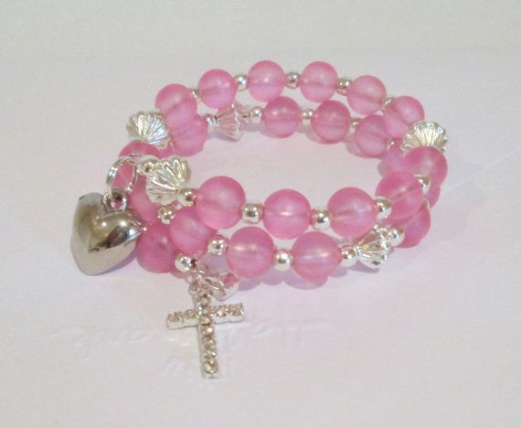 Pink Charm Bracelet For Girls Christening by AwfyBrawJewellery