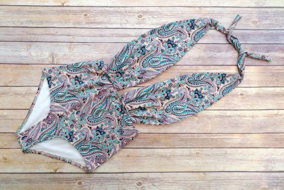 Schöne Badehose Vintage Retro-Stil hohe Taille Badeanzug Maillot Bademode Pink und violett böhmischen Paisley Einteiler-Badeanzug
