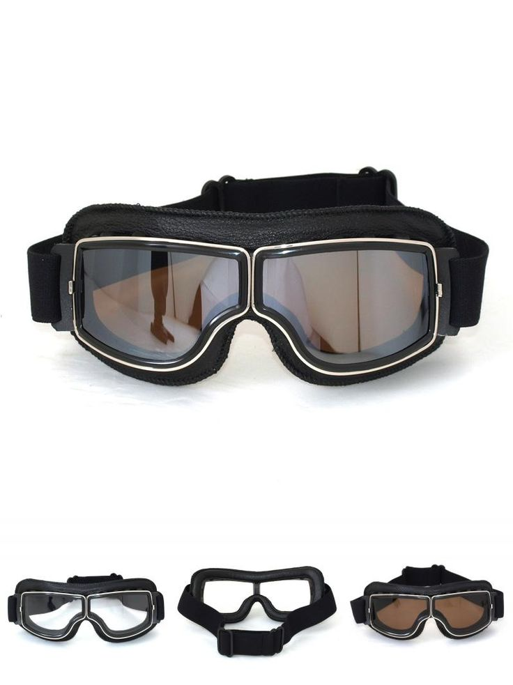 [Visit to Buy] High quality MJMOTO Brand New Vintage motorcycle goggles Pilot Motorbike Cruiser Goggles black Leather Frame Clear Lens Glasses #Advertisement