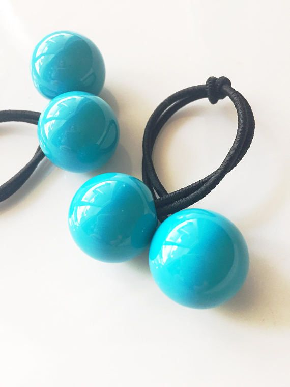 Large Turquoise Bobbles   Ponytail Holder   Ball Hair Ties   Ponytail  Holders   Ponytail   Hair Tie Bracelet   Hairbands   Bobble Hair Ties  34c18d85123