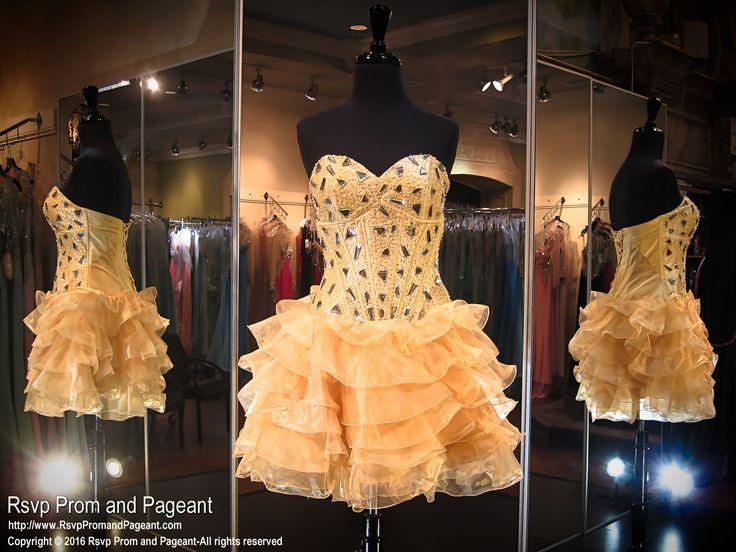 Short Orange Prom Dresses On Mannequine