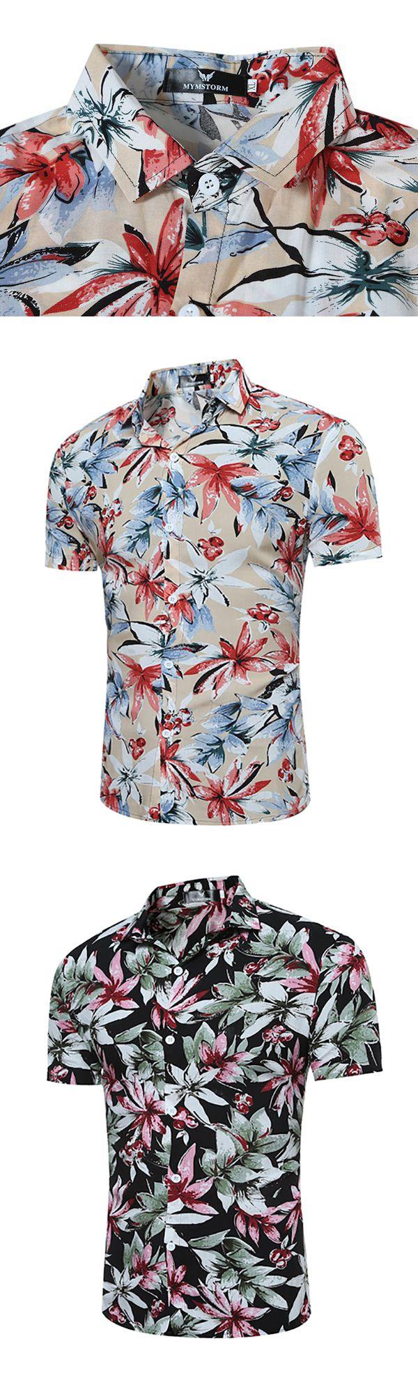 Hawaiian Flower Printing Short Sleeve Turn Down Collar Shirt for Men