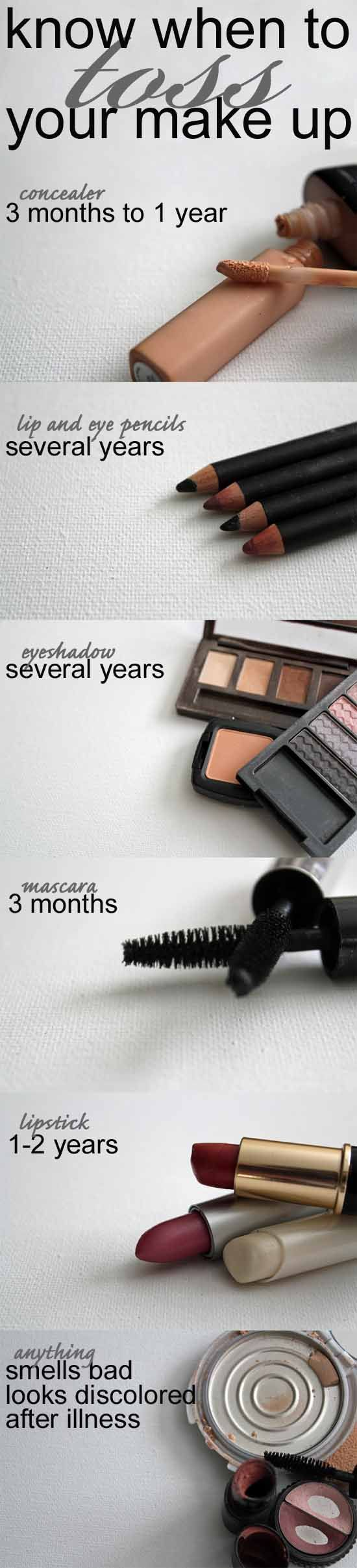 Know when to toss your make up: when does makeup go bad