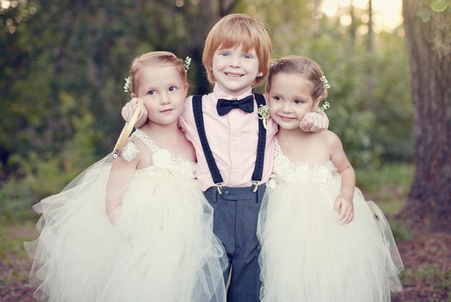 Rustic wedding flower girls and ring bearer.  I love the adorable dresses!