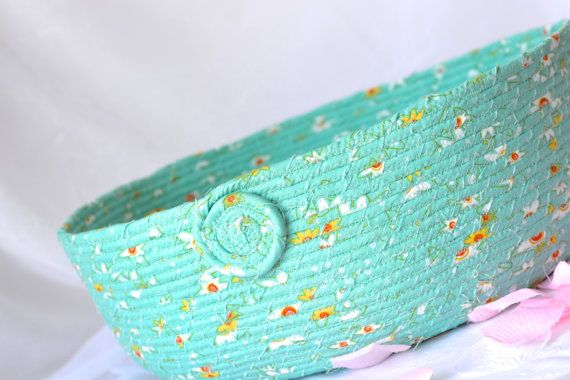 Turquoise Storage Basket Handmade Fabric by WexfordTreasures