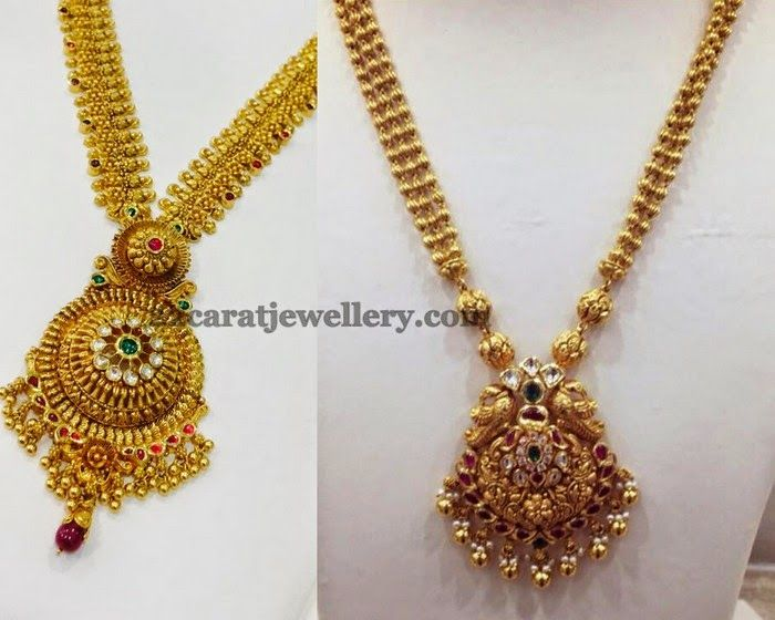Jewellery Designs: Antique Fancy Long Chains