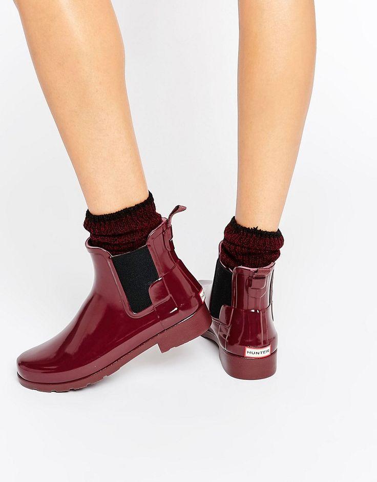 Image 1 ofHunter Original Refined Dulse Gloss Chelsea Wellington Boots