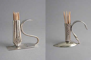 recycled: Silverware Tooth, Crafts Ideas, Gift Ideas, Recycle Silverware, Repurpoed Silverware, Tooth Pick, Silverware Crafts, Toothpick Holders, Craft Ideas