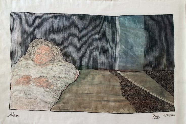 Priest  2014 Linen, monotype and embroidery cotton 77 x 114cm   https://oliviekeckart.wordpress.com/visual-art/2014-2/