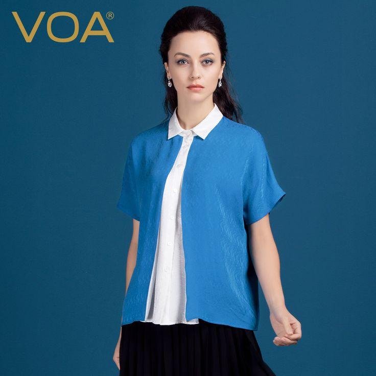 Encontrar Más Blusas y Camisas Información acerca de Camisa de seda de VOA 2016 verano hit costura madre suelta de color azul de seda blusa B1152, alta calidad blusa de seda, China blusa de rayas Proveedores, barato blusa de invierno de VOA Flagship Shop en Aliexpress.com