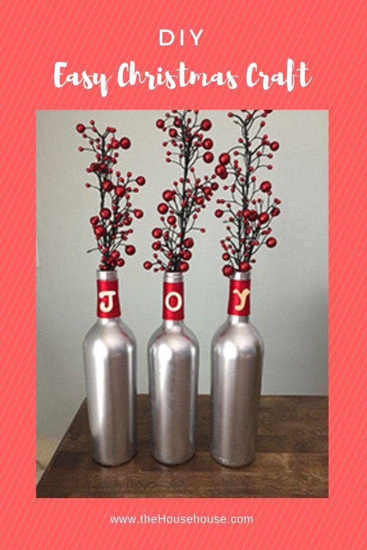 Diy Wine Bottle Christmas Craft Tutorial Wine Bottle Crafts Christmas Easy Christmas Diy Christmas Wine Bottles Diy