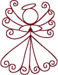 Redwork Tiny Angel Embroidery Design