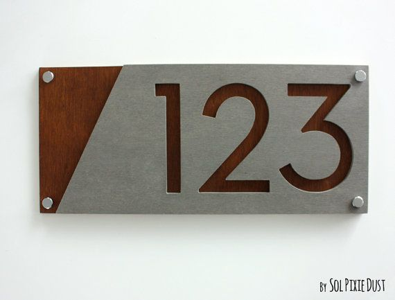 Modern House Numbers, Concrete with Marine Plywood - Contemporary Home Address - Sign Plaque - Door Number