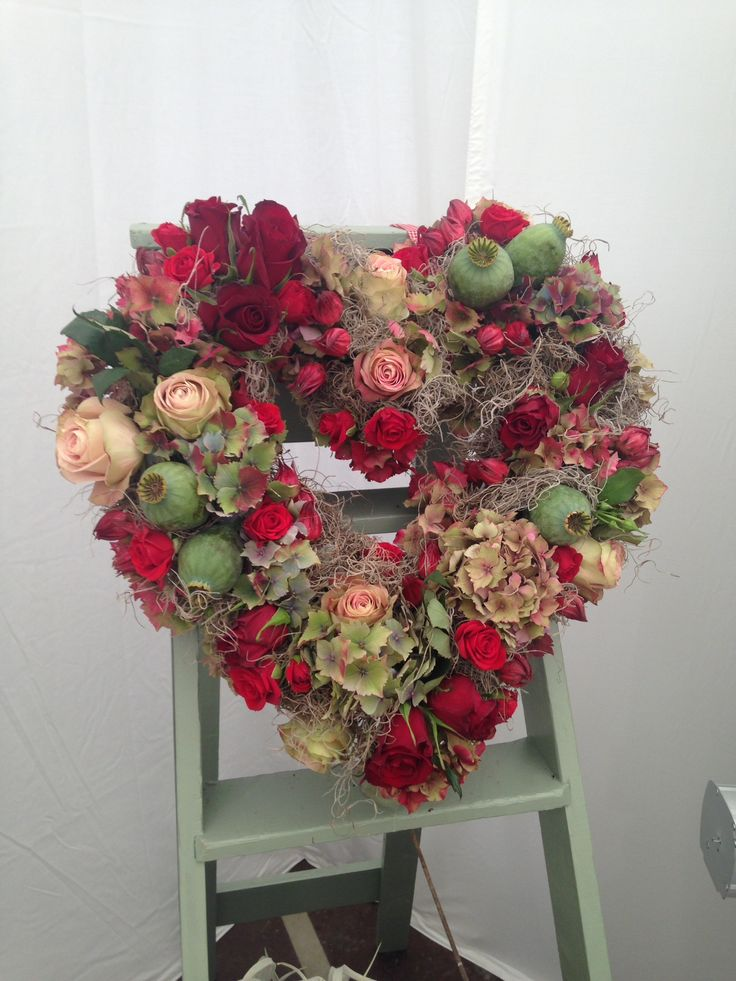 Stunning heart design floral display by Shipley College