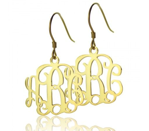 Celebrity Monogram Earrings In Solid Yellow Gold