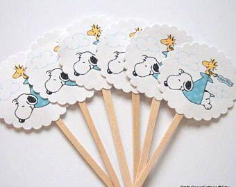 Reservados para PAM - Snoopy Cupcake Toppers - conjunto de 30