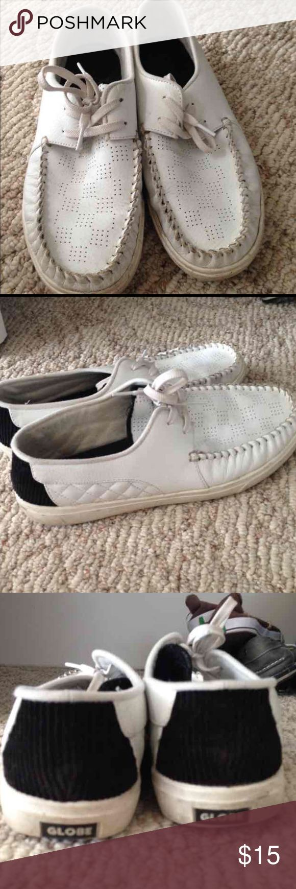 Men's globe boat style shoes Men's white boat shoes by Globe. These shoes are in fair condition worn but still have some wear in them. Globe Shoes Boat Shoes