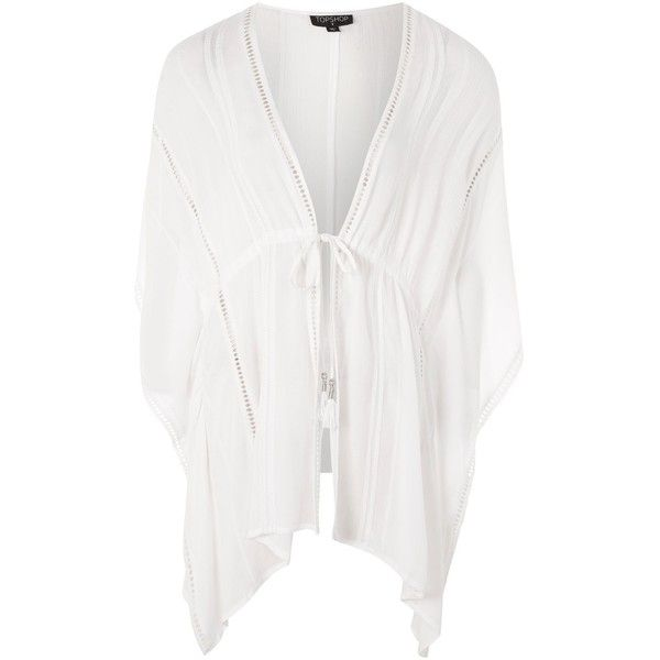 Topshop Pleated Trim Kaftan (€37) ❤ liked on Polyvore featuring tops, tunics, white, white kaftan top, pleated tunic, pleated top, white eyelet top and topshop tops