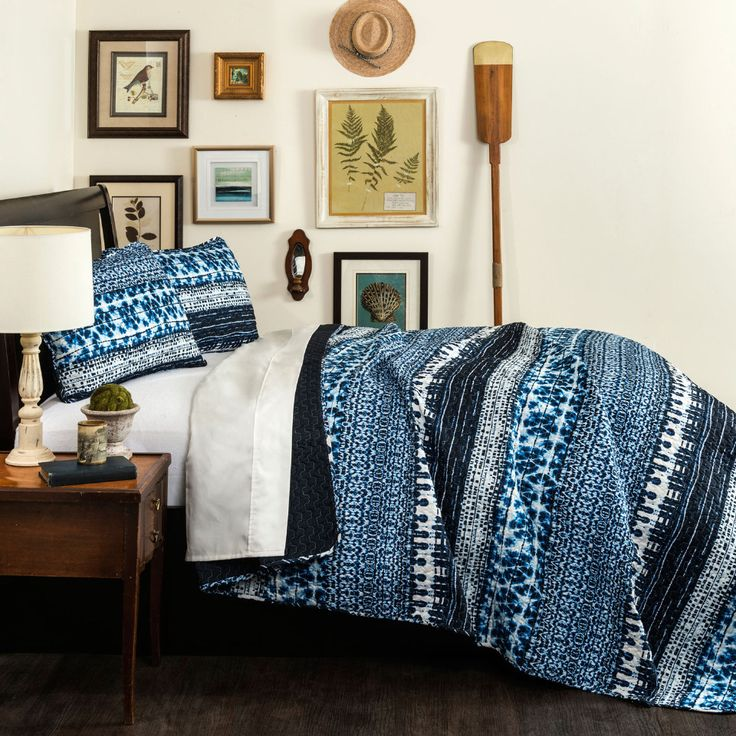 Lush Decor - 3-Piece Lambert Full/Queen Quilt Set in Navy