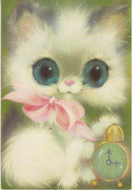 Vintage big eyed kitty card