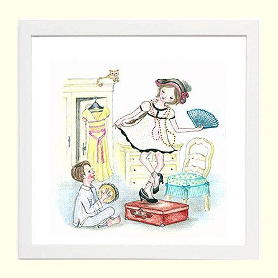 Playing Dress-up - Whimsical Children's Art 8x8 Giclee Print