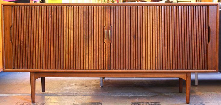 Tambour Door Buffet/Sideboard by Kipp Stewart, Mid Century Modern Furniture Houston, Modernism, Mod, MCM, Mid-Century Houston, Walnut Buffet, Mid Century Credenza