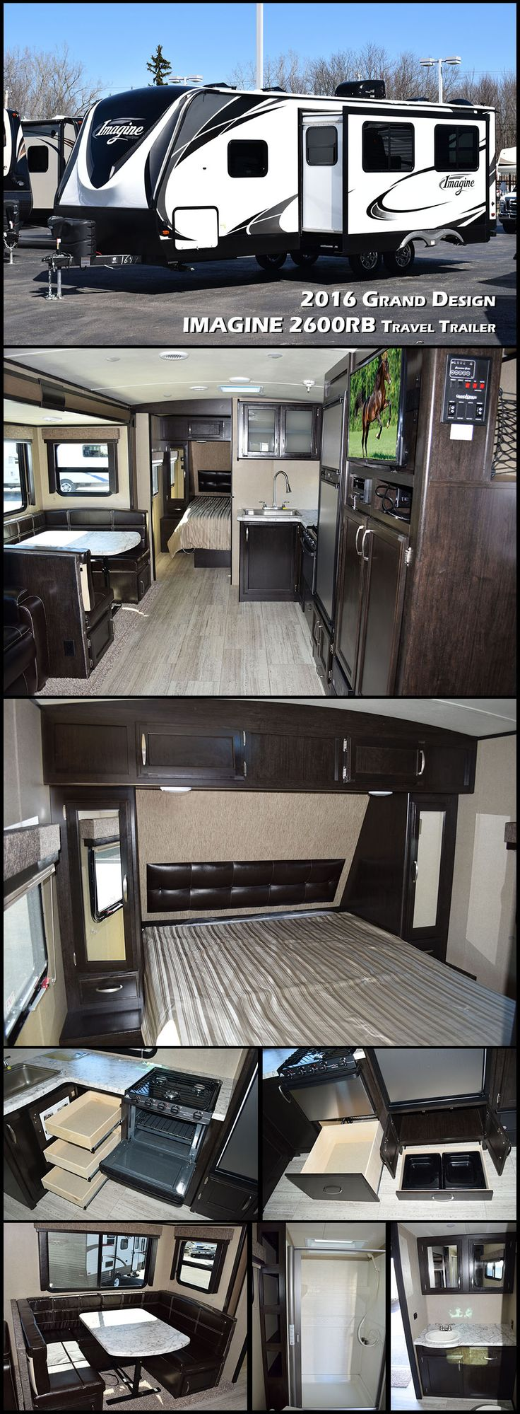 Imagine enjoying some time away from home in this 2016 Imagine 2600RB travel trailer by Grand Design. This RV hits the towing sweet spot of today's medium duty trucks and SUVs. The large U-shaped dinette seats the whole family, but also has a removable bench that becomes an ottoman or the whole thing can transform into more sleeping space. If you like to camp with your pets, the built-in pet dish drawer will be one of your favorite features.