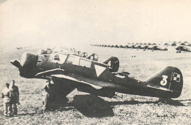 PZL.23A light bombers at Warsaw Airport, late 1930s; note PZL.7 or PZL.11 fighters in the background