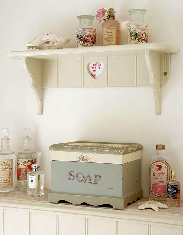 Gallery One Cottage chic bathroom shelving and decor
