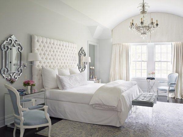 tall headboards ideas stylish elegant white bedroom interior crystal  chandelier framed mirrors