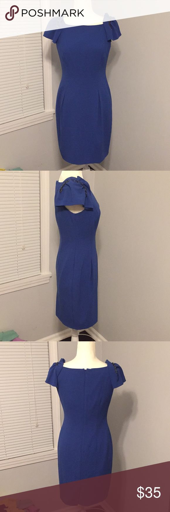 Donna Ricco embellished sleeve dress Timeless chic n classic. Bold blue rear zip embellished sleeve lined dress. Great for many occasions. Some beads have fallen off sleeve as shown in picture Donna Ricco Dresses