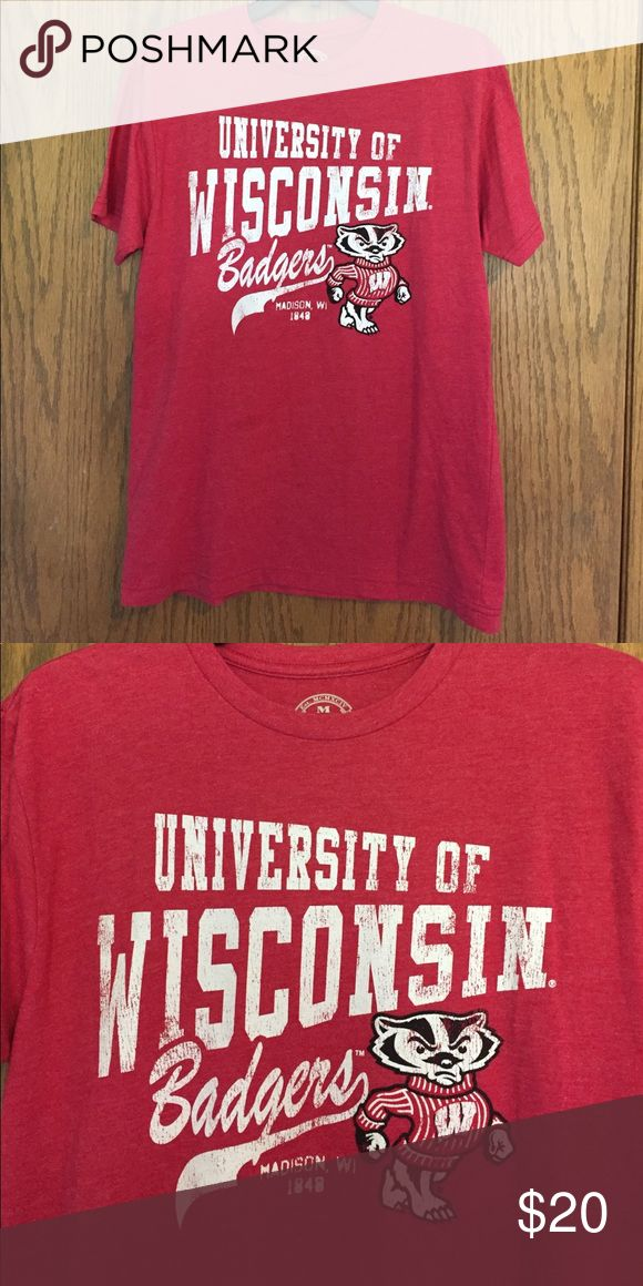 UNIVERSITY OF WISCONSIN BADGER SHIRT UW-Madison Badger shirt in great condition.  50% cotton/50% polyester Tops Tees - Short Sleeve