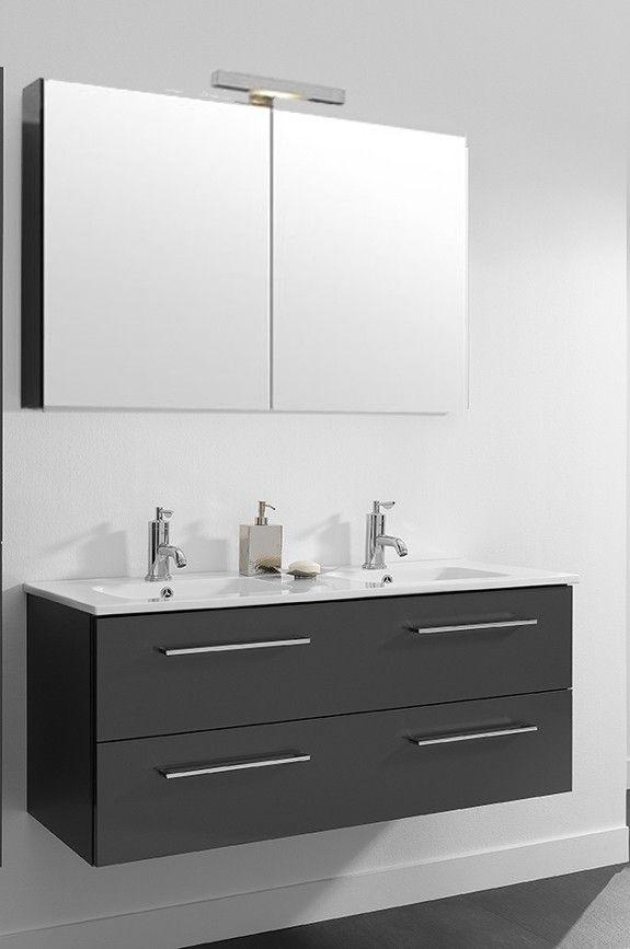Primabad badmeubel actie set 3 met greep 121 cm hoogglans antraciet met een dubbele keramische wastafel, spiegelkast, verlichting en schakelaar/stopcontact