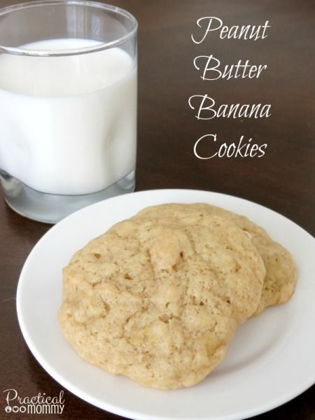 Peanut Butter Banana Cookies - These cookies have a cake-like texture and are great paired with a glass of milk (like most cookies!). The peanut butter and banana flavors are equally balanced and not overpowering. These would be great with some chopped walnuts mixed in.
