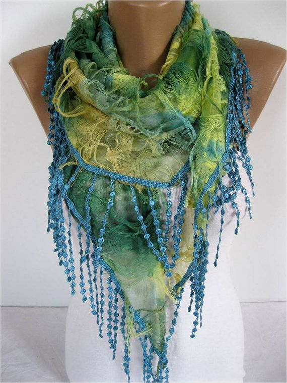 Elegant Multicolor Scarf Cowl with Lace Edge gift by MebaDesign