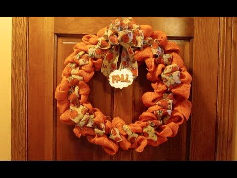 Fall Wreaths - How to Make Multi-Colored Burlap Wreath (Video)