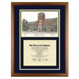 University of Michigan Diploma Frame with U of M Lithograph Art PrintBy Old School Diploma Frame Co.