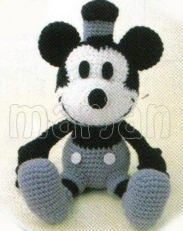 Crochet Doll amigurumi Pattern – Steamboat Willie Classic Mickey Mouse I want this pattern!!!!!!!