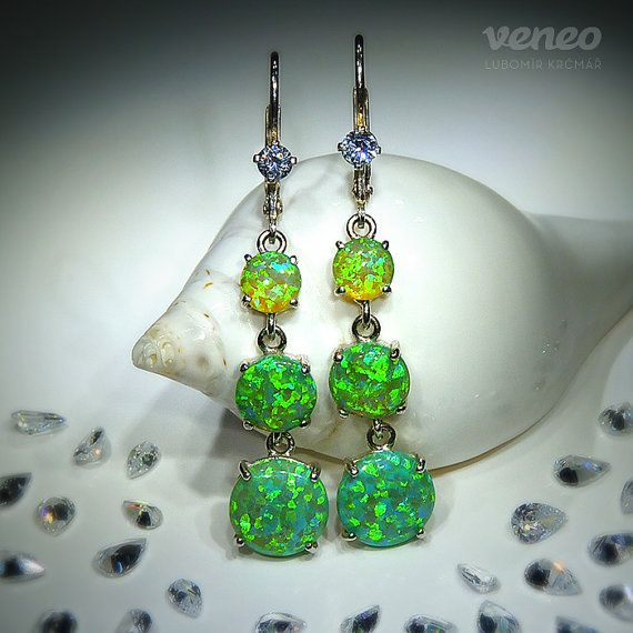 Flora. Silver or Gold Opal and Zircon Earrings all sizes by Veneo, $138.00