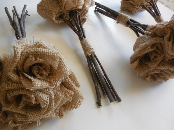 Burlap Bouquet  / Qty 4 Wedding bouquets  by SouthernHomeDesign, $140.00