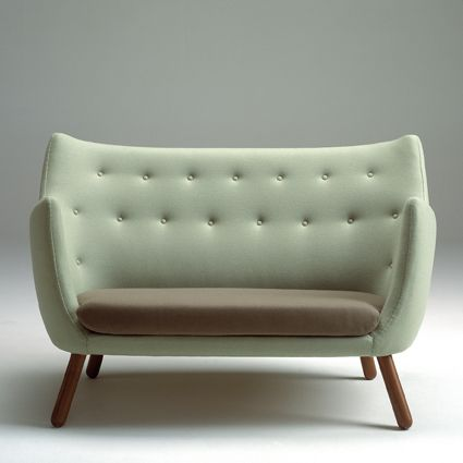 "Trans from Danish ""Finn Juhl fine little two-seater sofa from 1941 was nicknamed poet and Lillemor after the comic of the same name. The comic was made ​​into a film in 1959 and was part Finn Juhl's furniture in scenography. www.onecollection.com"