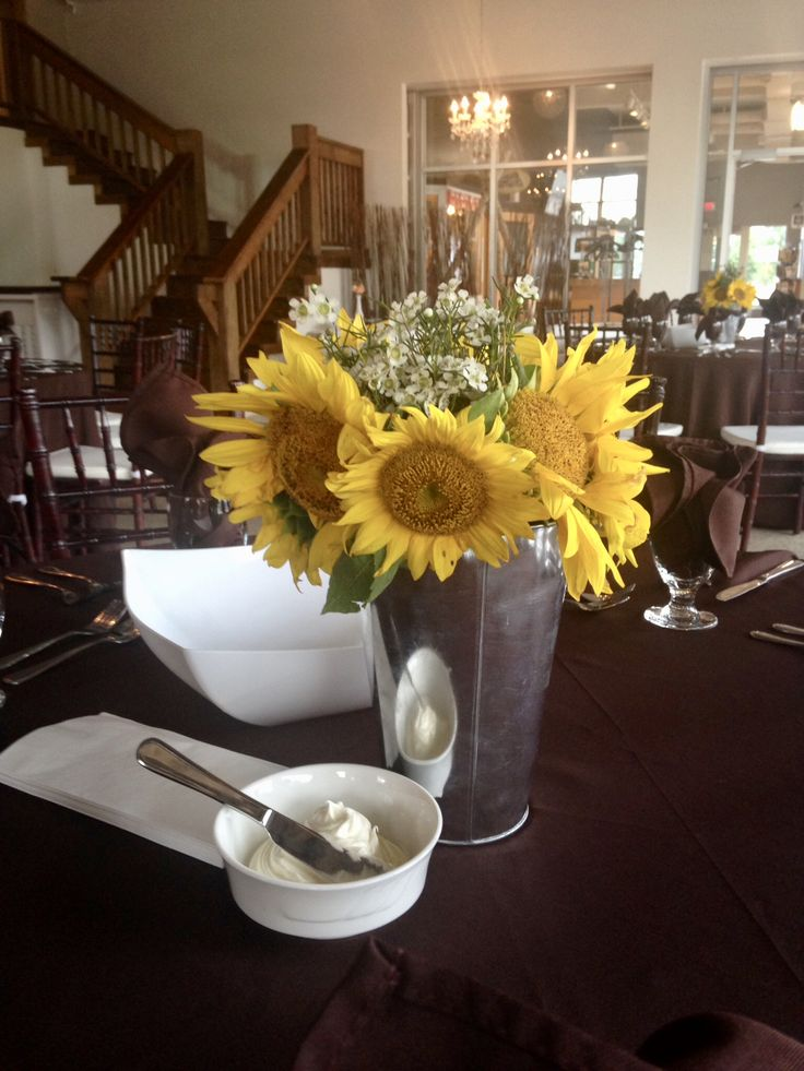 DIAMOND - fresh floral of sunflowers in a galvanized vase