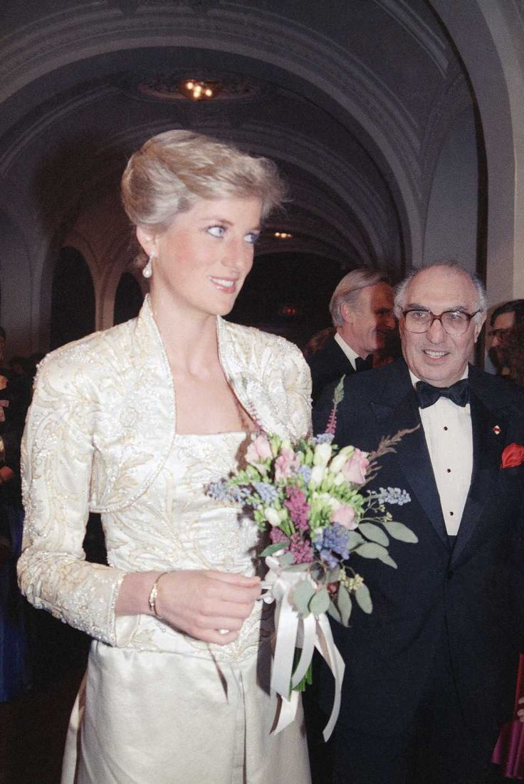 "February 3, 1989: Princess Diana at the Brooklyn Academy of Music to see the Welsh National Opera Gala production of ""Falstaff""."