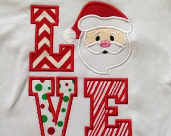 Santa Claus LOVE Custom designed appliqued t-shirts or one piece w/snaps, Toddlers Girls, Boys, holidays, snow,
