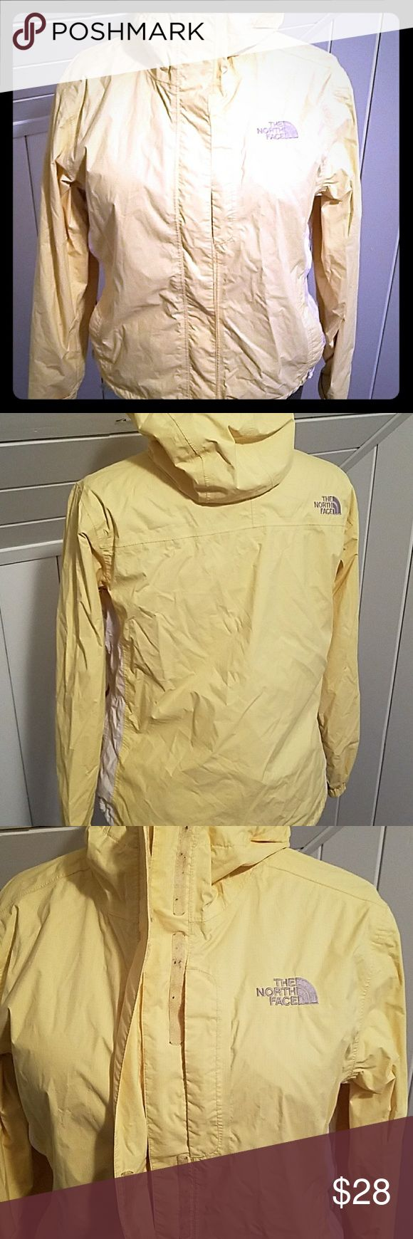 North face jacket Light weight rain jacket yellow , Velcro has some lint in but not visible when shut North Face Jackets & Coats