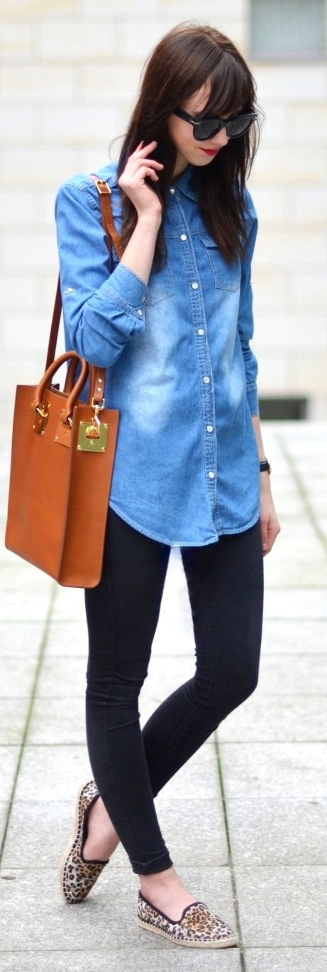 Chambray Long Line Button Up by Vogue Haus