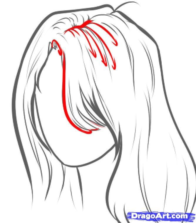 how to draw wavy hair step by step