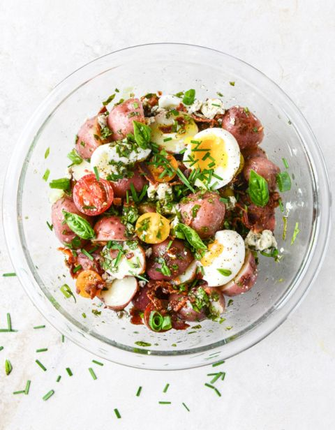 bacon blue potato salad with soft boiled eggs I howsweeteats.com
